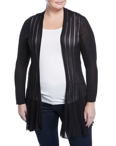 Shadow Striped Open Front Cardigan