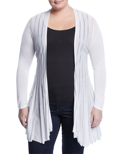 Shadow Striped Open-Front Cardigan
