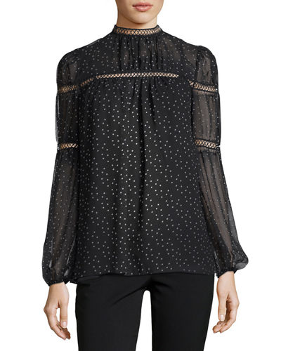 High-Neck Printed-Georgette Blouse