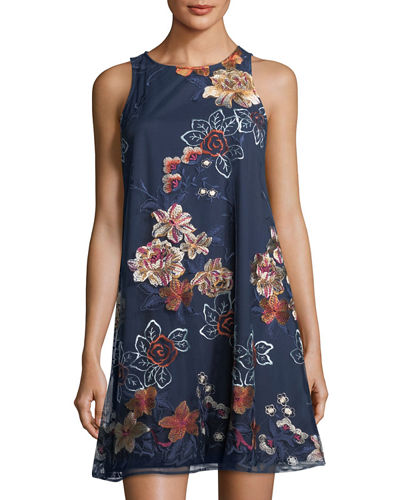 Floral-Embroidered A-Line Minidress