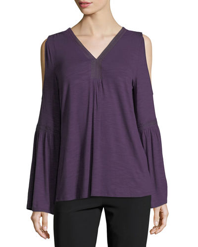 Lace-Trim Cold-Shoulder Tee