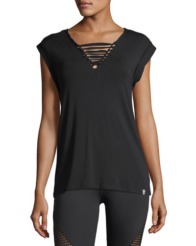 Knot-Front Jersey Muscle Tee