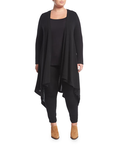 Knit Long Duster Cardigan, Plus Size