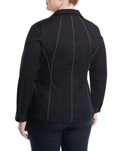 Zoey Topstitch Blouse, Plus Size