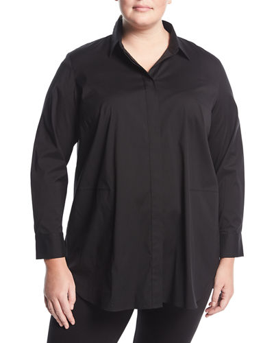 Carlise Topstitched Blouse, Plus Size