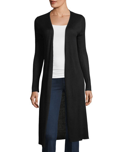 Ribbed Open-Front Duster Cardigan