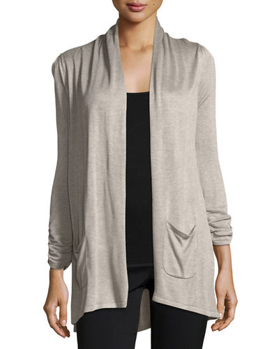 3/4-Sleeve Patch-Pocket Cardigan