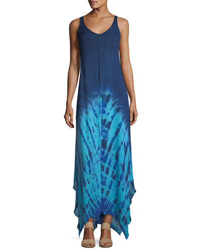 Ombré Tie-Dye Sleeveless Maxi Dress