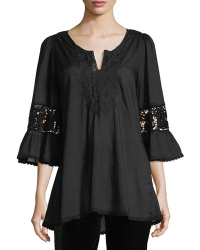 Embroidered Bell-Sleeve Blouse