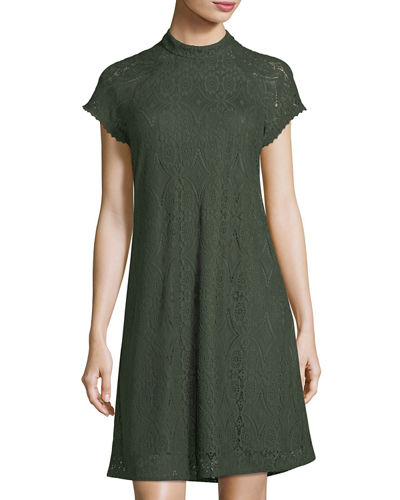 Mock-Neck Lace Swing Dress
