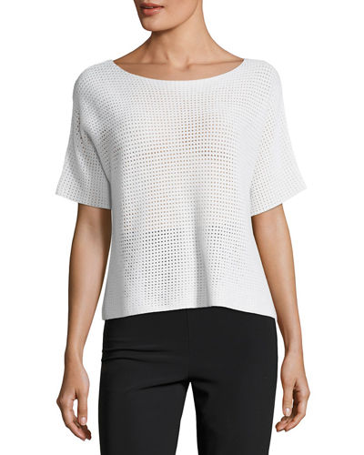 Cashmere Short-Sleeve Mesh Sweater