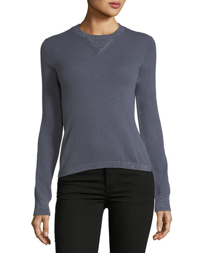 Cashmere Sparkle-Trim Sweater