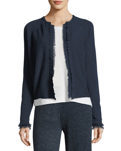 Cashmere Frayed-Trim Open-Front Cardigan