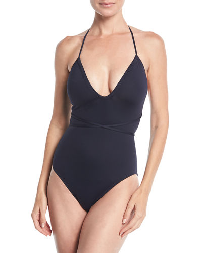 Shirred-Neck One-Piece Swimsuit