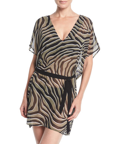 V-Neck Zebra Caftan Coverup