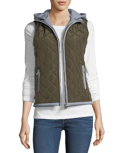 Fleece-Hooded Puffer Vest