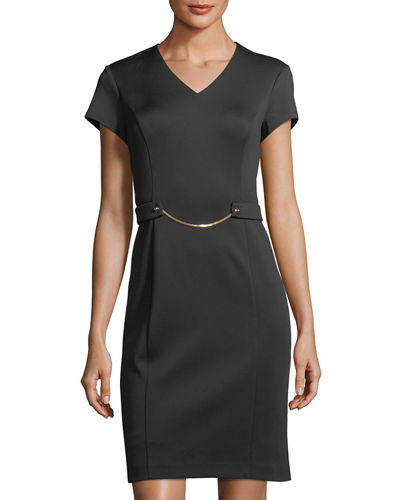 Chain-Detail Scuba Sheath Dress