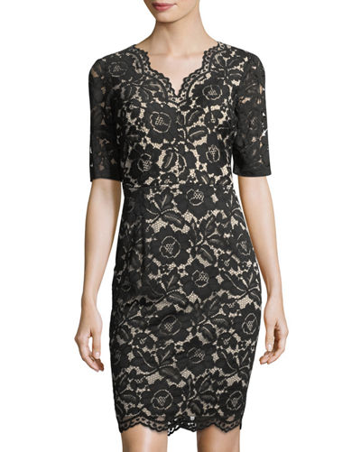 VNECK LACE DRESS WITH ELBOW