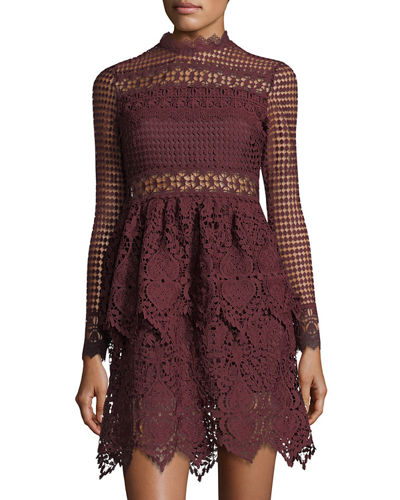 LS LACE SCALLOP HEM DRESS