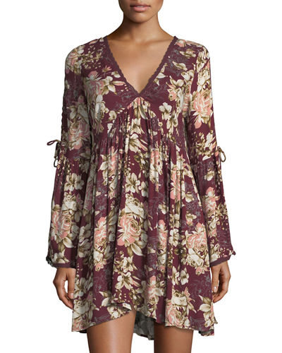 Garett Floral-Print Long-Sleeve Dress