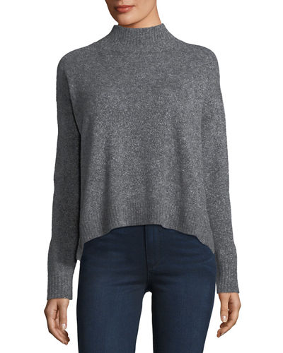 Mock-Neck Mousse Pullover Sweater