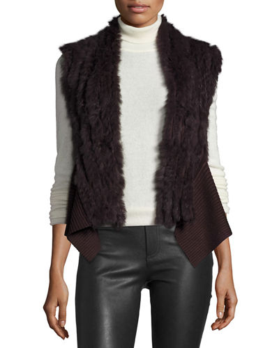 Rabbit Fur Knit Sleeveless Vest