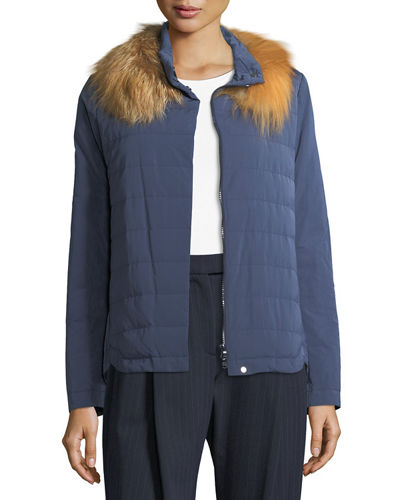 Taffeta Down Jacket w/Fur Collar