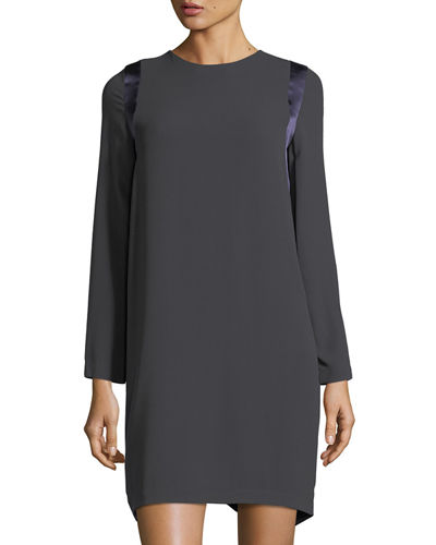 Long-Sleeve Silk T-Shirt Dress