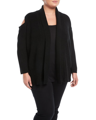 Cold-Shoulder Rib-Knit Cardigan, Plus Size