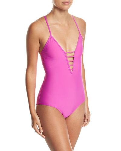 Soft-Cup Strappy One-Piece Swimsuit