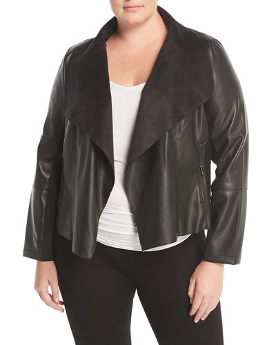 Draped Faux-Leather Jacket, Plus Size