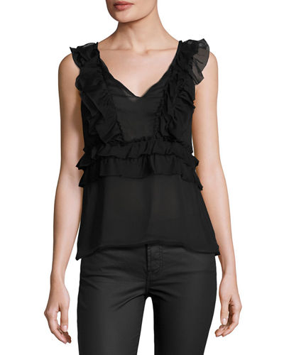 Ruffle Chiffon V Neck Top