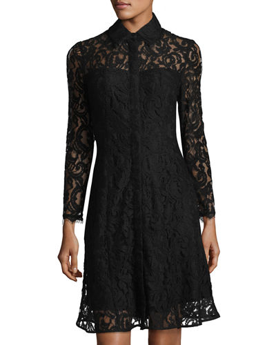 Long-Sleeve Button-Front Lace Shirtdress