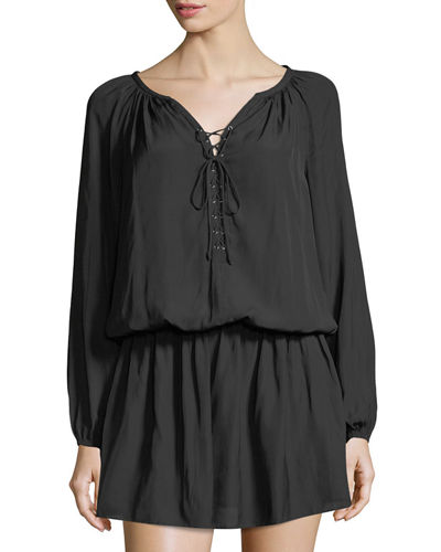 Allie Ruched Tie-Front Dress