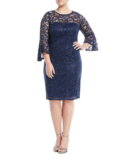 Bell-Sleeve Sequined-Lace Dress, Plus Size