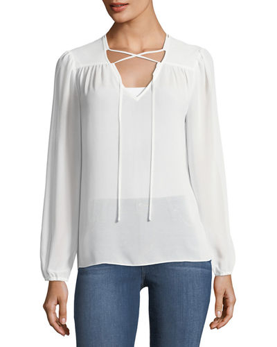 Lace-Up Chiffon Top