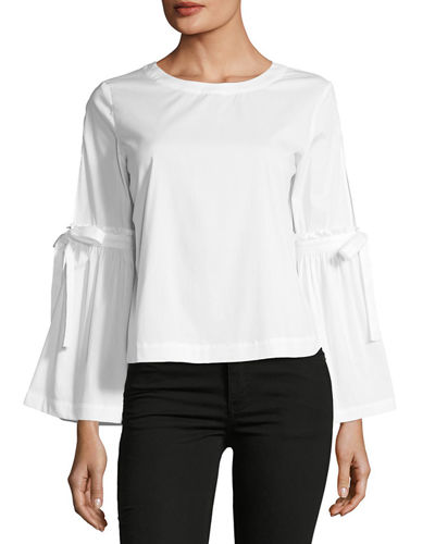 Tie-Sleeve Crop Poplin Top