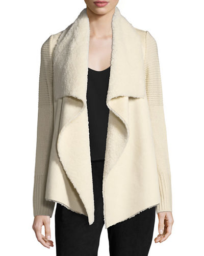 Faux-Shearling Knit-Trim Jacket
