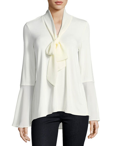 Tie-Neck Bell-Sleeve Blouse