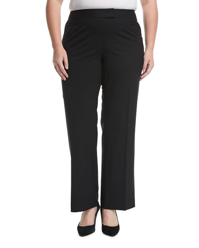 Wool-Blend Slim-Leg Pants, Plus Size