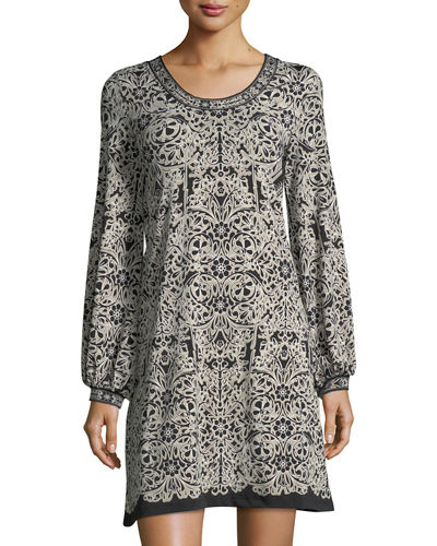 Printed Jersey Bell-Sleeve Dress