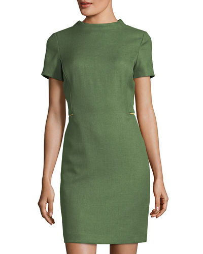 High-Neck Short-Sleeve Woven Sheath Dress