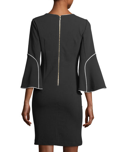 3/4-Sleeve Contrast-Piped Dress