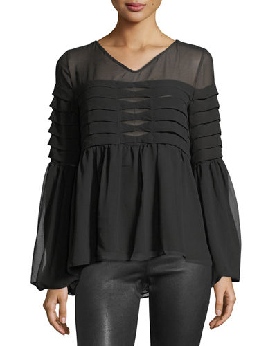 Tiered-Pleat Bell-Sleeve Blouse