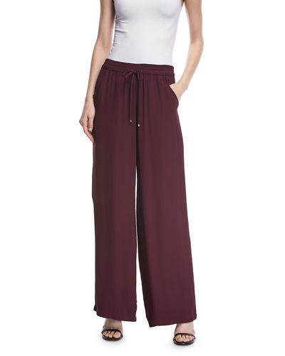 Satin Full-Leg Self-Tie Pants