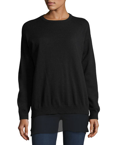 Cashmere Sweater-Silk-Trim Wool