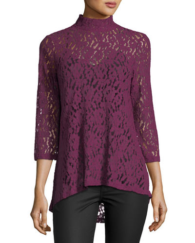3/4-Sleeve Mock-Neck Lace Top
