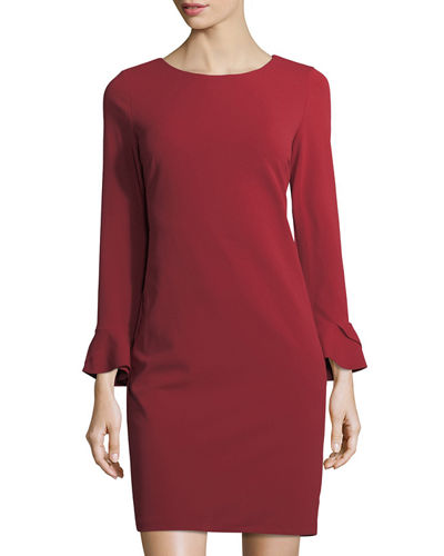 Flare-Sleeve Shift Dress