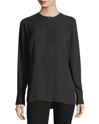 Collarless Pleat-Back Silk Shirt