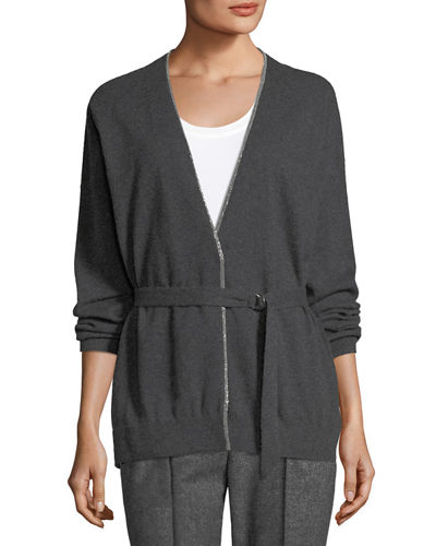 Cashmere Monili-Beaded Cardigan